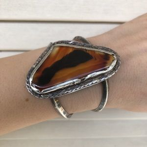 Vintage Native American Sterling 925 Agate Cuff